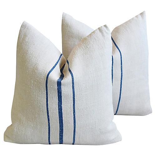 Blue/White French Grain-Sack Pillows, Pr