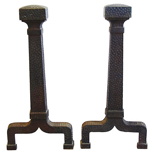 Early 1900s Iron Fireplace Andirons