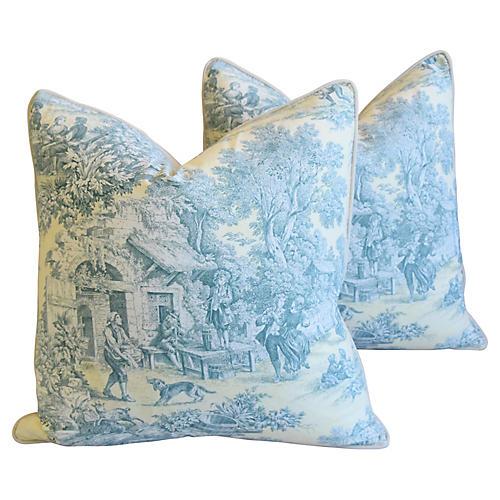 French Farmhouse Toile Pillows, Pair