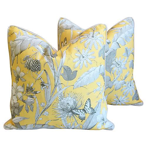 English Floral Meadow Linen Pillows, Pr