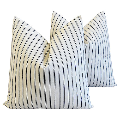 Blue Striped French Ticking Pillows, Pr
