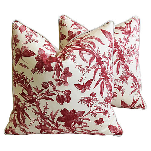 P. Kaufmann Aviary Toile Pillows, Pair