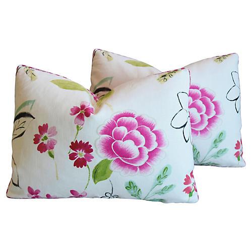 Manuel Canovas Floral Linen Pillows, Pr