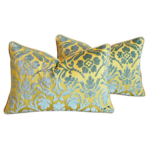 Italian Cut-Velvet Pillows, Pair