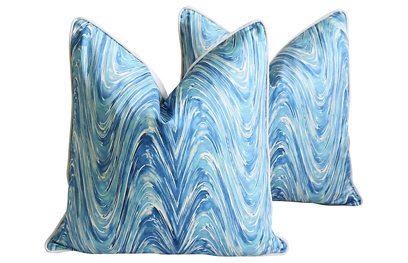 Blue & White Marbleized Pillows, Pair