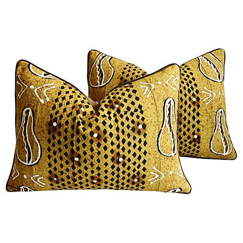 Malian Mud-Cloth Pillows, Pair