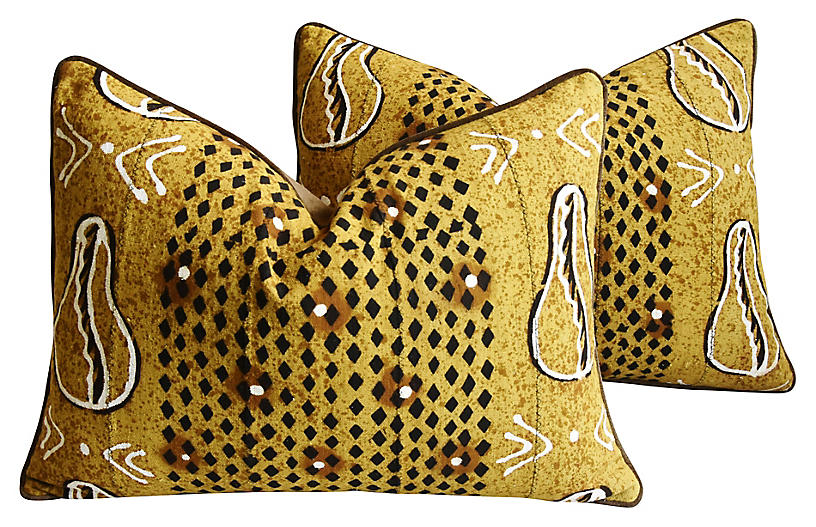 Malian Mud-Cloth Pillows, Pair