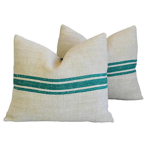 Green Striped Grain-Sack Pillows, Pair