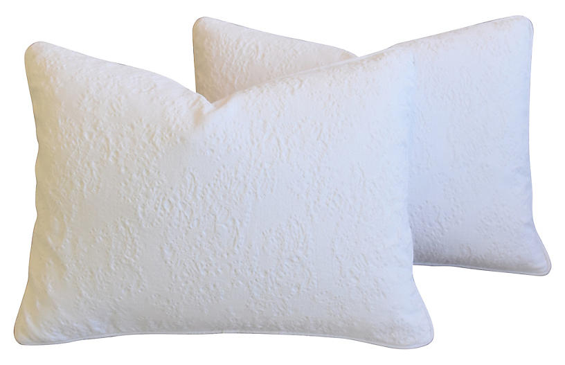 French Provençal Quilted Pillows, Pair