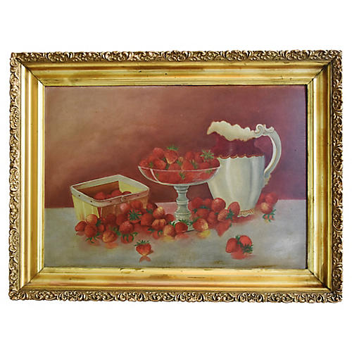 Antique Strawberries Still life Painting