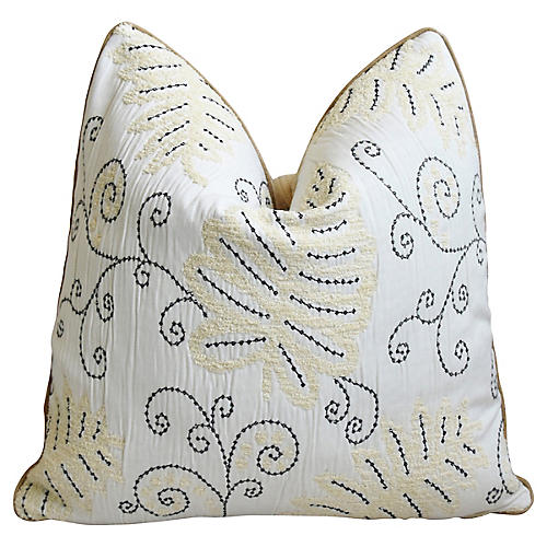 Scalamandre Embroidered Fern Wood Pillow