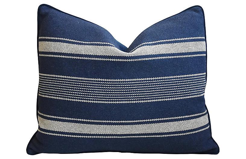 Blue & White Belgian Striped Pillow