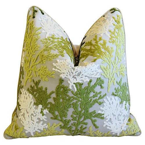 Green & White Coral Cut-Velvet Pillow