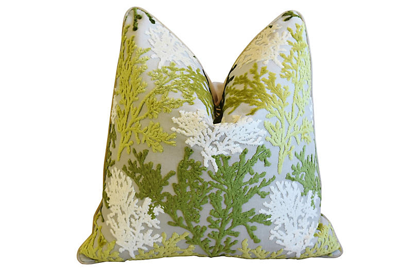 Green & White Coral Cut-Velvet Pillow