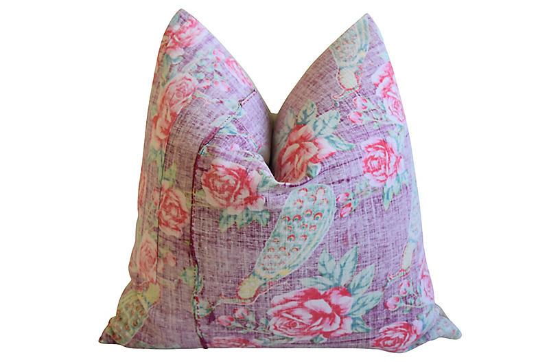 Lavender & Rose Floral Batik Pillow