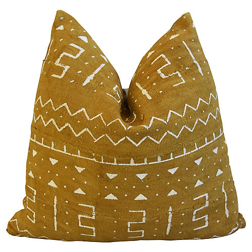 Gold Malian Mud-Cloth Pillow