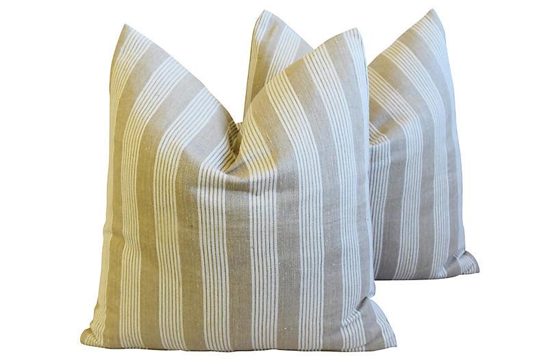 French Tan & White Ticking Pillows, Pair