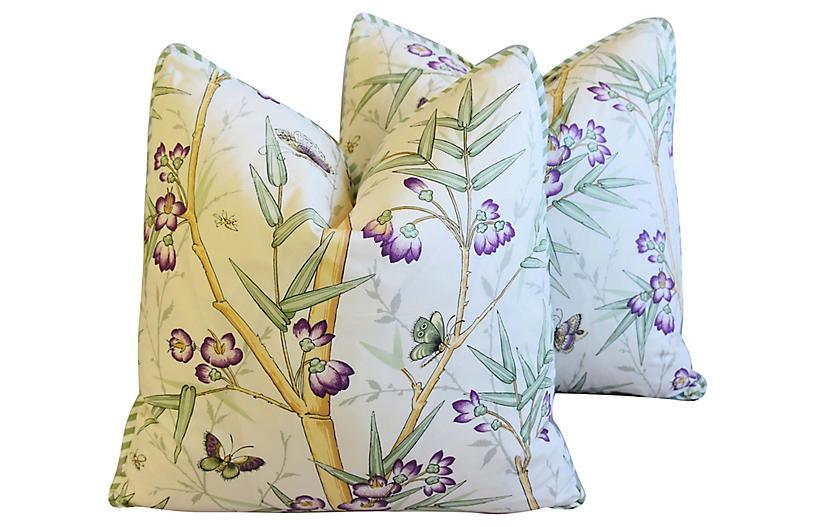 Clarence House Bamboo Fabric Pillows, Pr