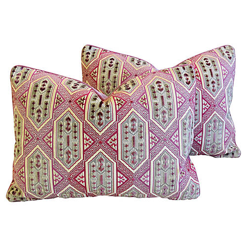 Pink/Lavender French Velvet Pillows, Pr