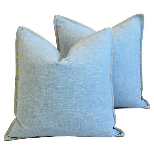 Sky-Blue Woven Linen/Cotton Pillows, Pr
