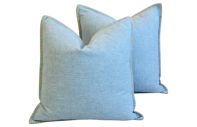 Sky-Blue Woven Linen/Cotton Pillows, Pr