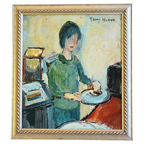 Lady in Green Portrait by Willard Wiener