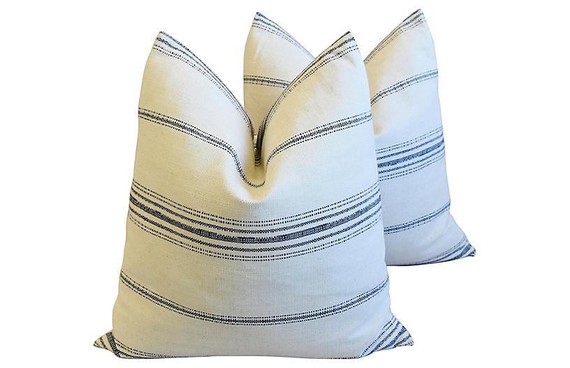 French Navy & White Woven Pillows, Pair