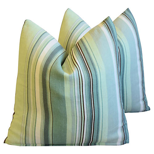 Belgian Green Striped Linen Pillows, Pr