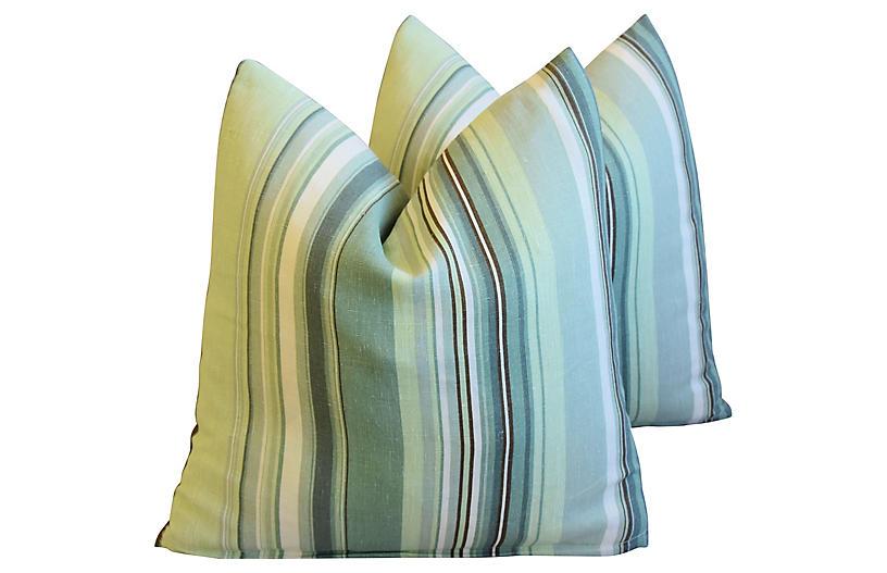Belgian Green Striped Linen Pillows, Pr