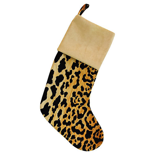 Leopard Spot Velvet Christmas Stocking