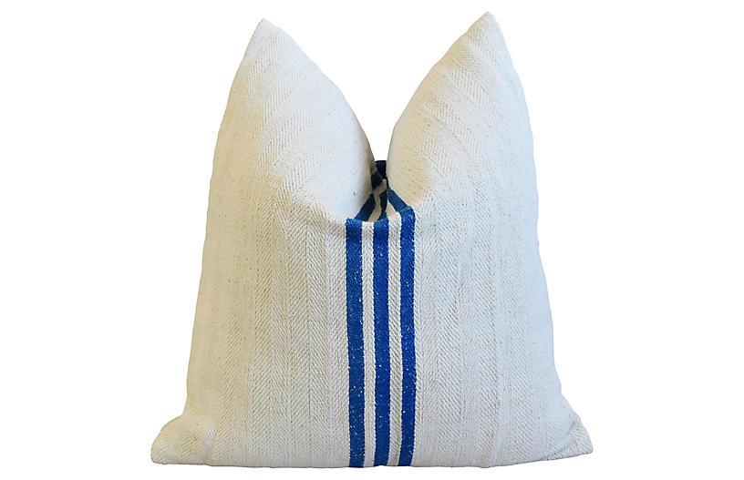 French Blue Striped Grain Sack Pillow