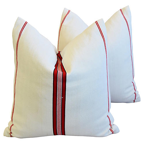 Red Striped French Textile Pillows, Pair