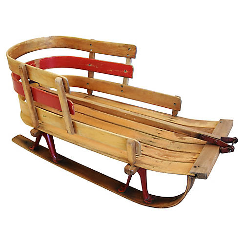 1950s Childrens Snow Sled w/ Handle