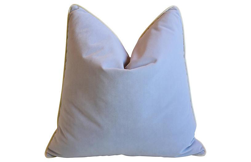 Pastel Violet & Bone White Velvet Pillow