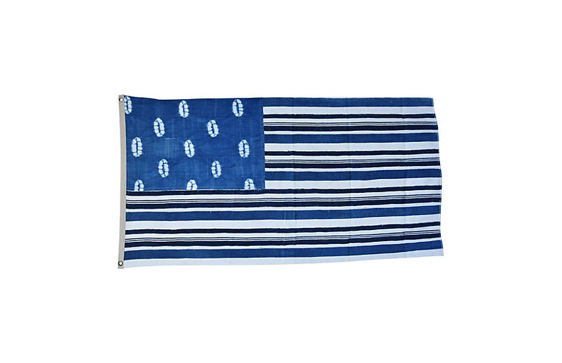 Blue & White African Textile Flag Throw