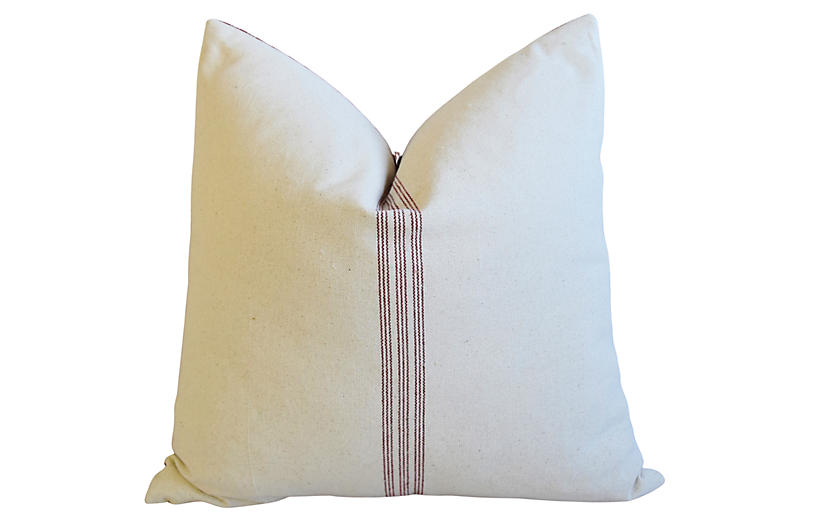 French Burgundy Striped & Checked Pillow