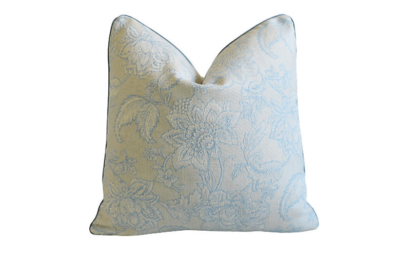 Zimmer Rhode Turquoise Floral Pillow