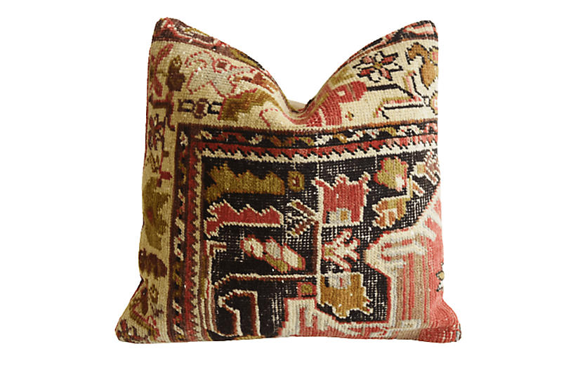 Vintage Turkish Wool Carpet Rug Pillow