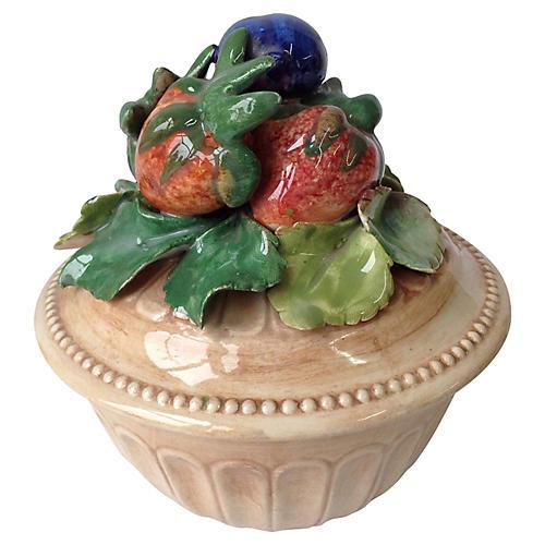 Italian Fruit Lidded Bowl