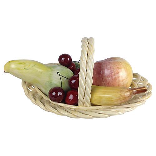 Italian Bassano Porcelain Fruit Basket