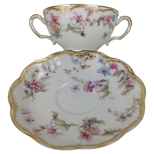 Limoges Soup Cups & Saucers, Svc for 10