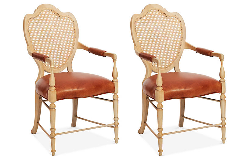 Shield-Back Armchairs, S/2