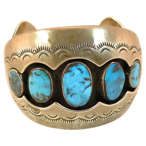 70s Sterling & Turquoise Shadowbox Cuff
