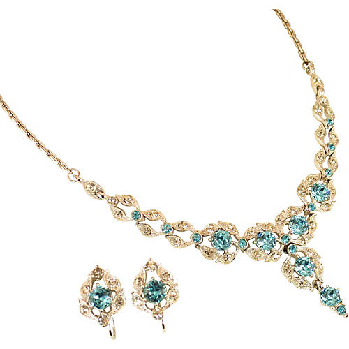 Bogoff Aqua Crystal Necklace Suite