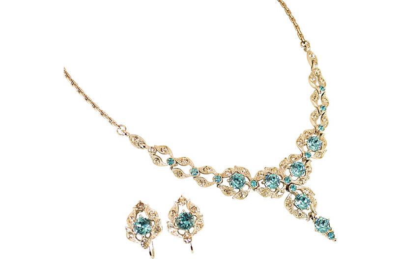 1950s Bogoff Aqua Crystal Necklace Set