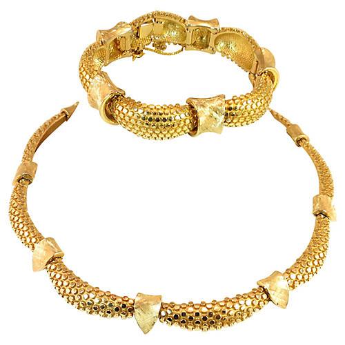 Boucher Gold Nailhead Necklace Suite
