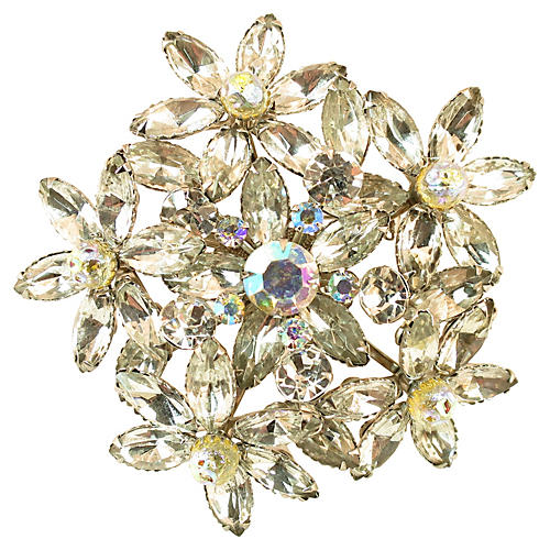1960s Oversize Judy Lee Crystal Brooch