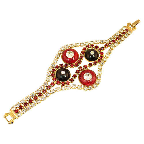 1950s Red Crystal Glitter Domes Bracelet