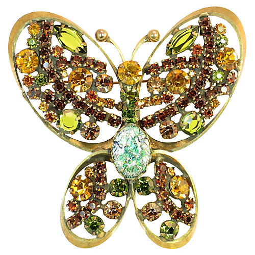Regency Fire Opal Butterfly Brooch 1950s