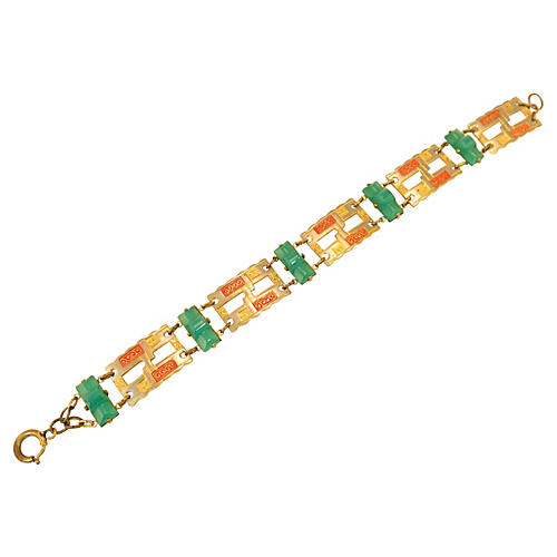 1920s Czech Chrysoprase Bracelet